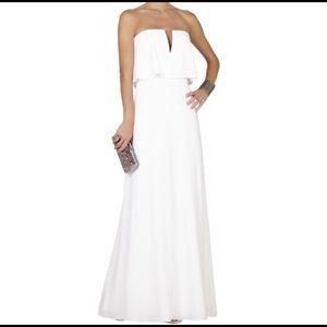 White strapless BCBG MaxAzria Gown.
